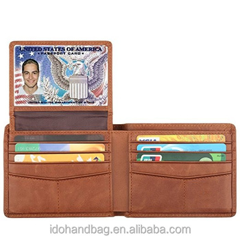 a2ebe2b4ce68 Wallets for Men With 2 ID Window RFID Blocking Trifold Genuine Leather  Wallet