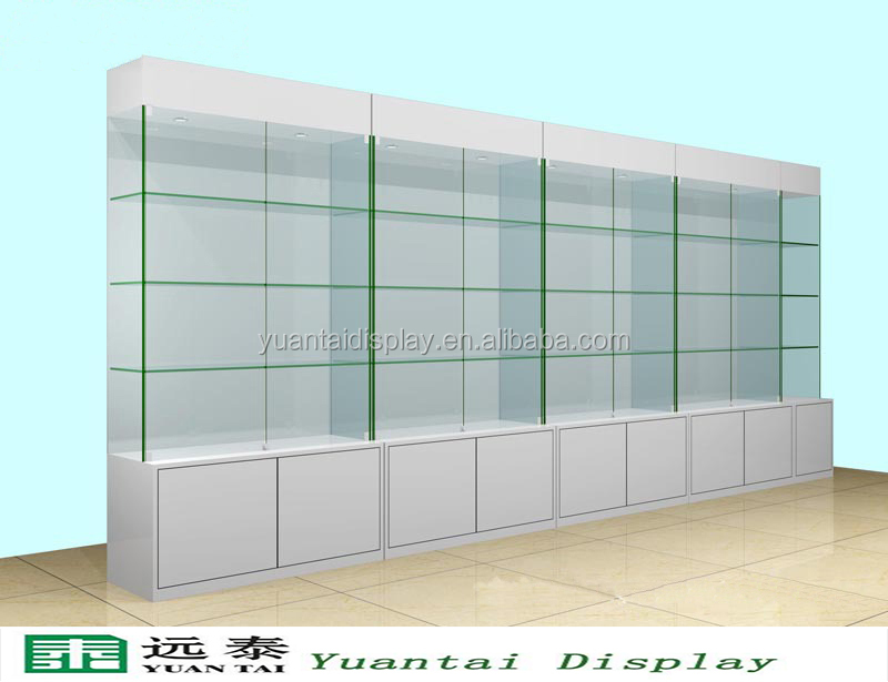 Free Standing White Wooden Glass Wall Display Storage Cabinet For Retail  Store