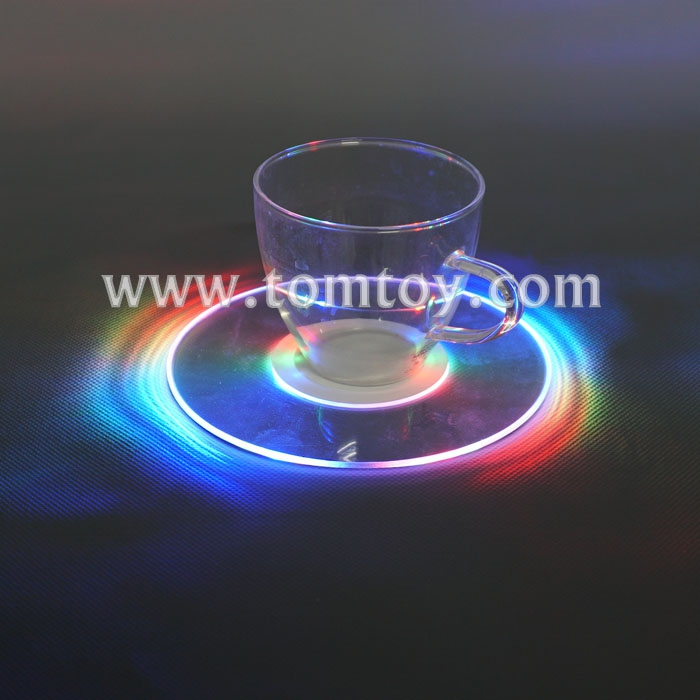 Tomtoy 5 Inches Multicolor Round Flashing Bottle Coaster