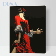 Bona Classical Style Dancing Girl Subjects Handpainted Digital 0il Painting