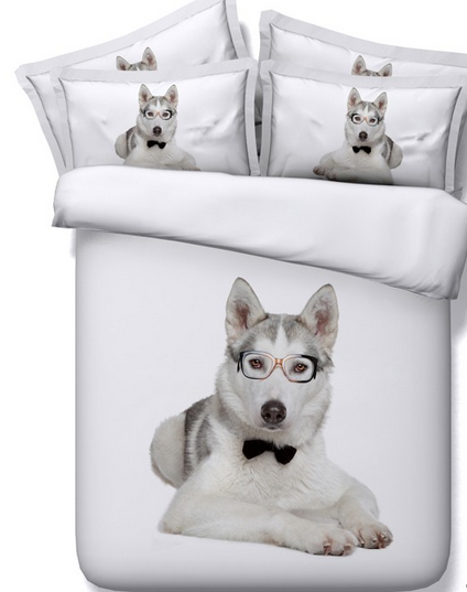 king size 3D angel printing 100% cotton Sweet Blue eyed Husky dog and Roses 3d Hd digital animal print bed set