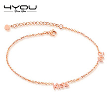 Custom logo stainless steel rose gold anklet designs kiss me charms anklets for women foot jewelry