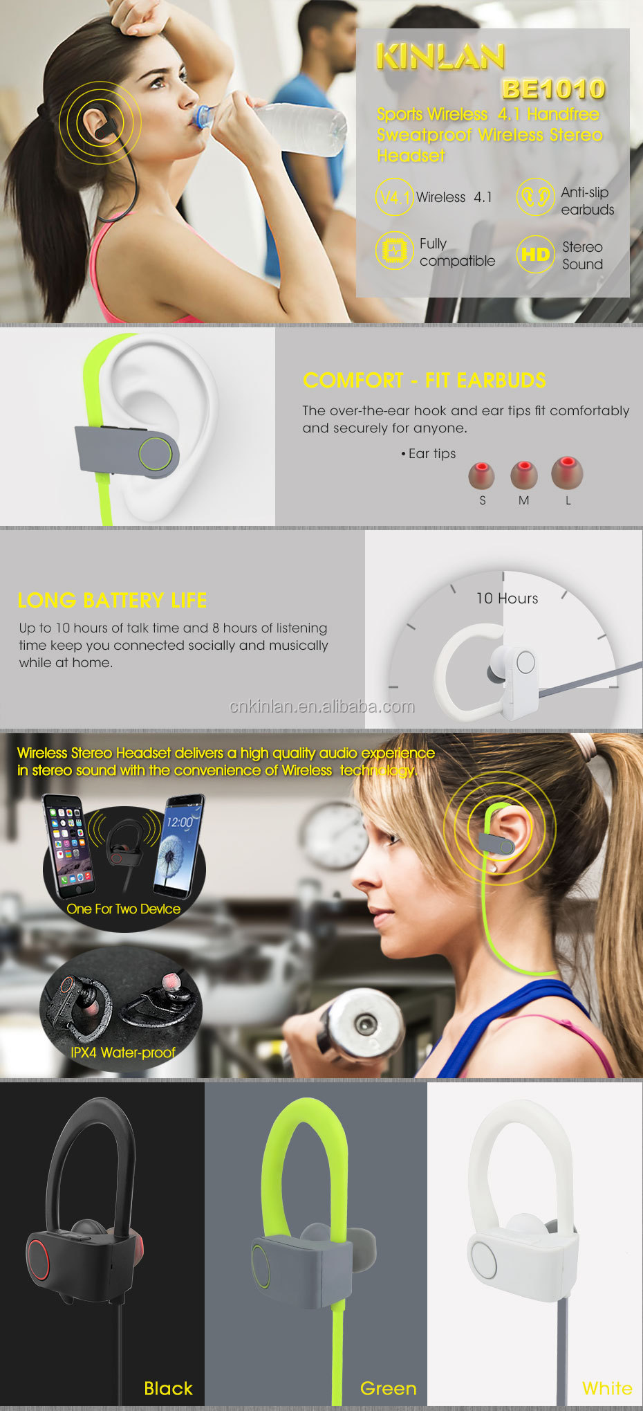 Kinlan V4.1best selling products 2017 bluetooth earphone with bass