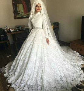 AP-12 New Arrival Button Cover Arabic Women Ball Gown Hand Made Appliqued Long Sleeve A Wedding Gown Muslim Wedding Dress