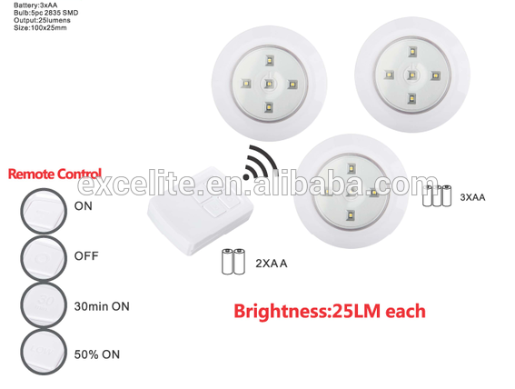 Wireless remote control led puck light