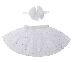 2017 wholesaler baby princess silver white soft tutu with headband