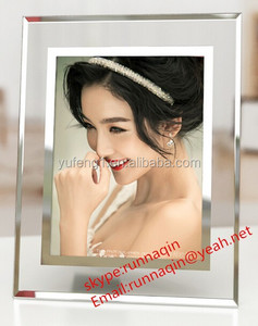 Crystal gift frameless silk printed glass picture frame mirror photo frame in 5x7