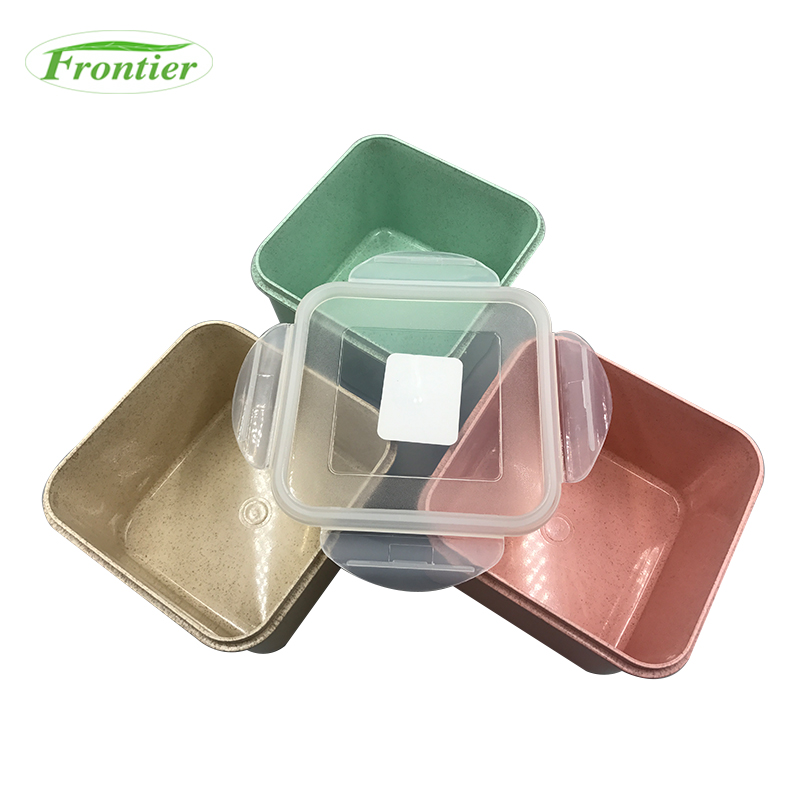 Eco-friendly wheat fiber 1600ml heat resistant airtight food container with lids