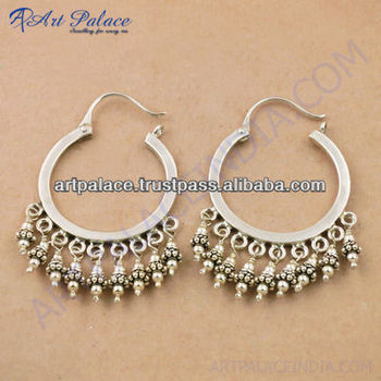 Indian Designer Bali Silver Earrings 925 Sterling Jewelry