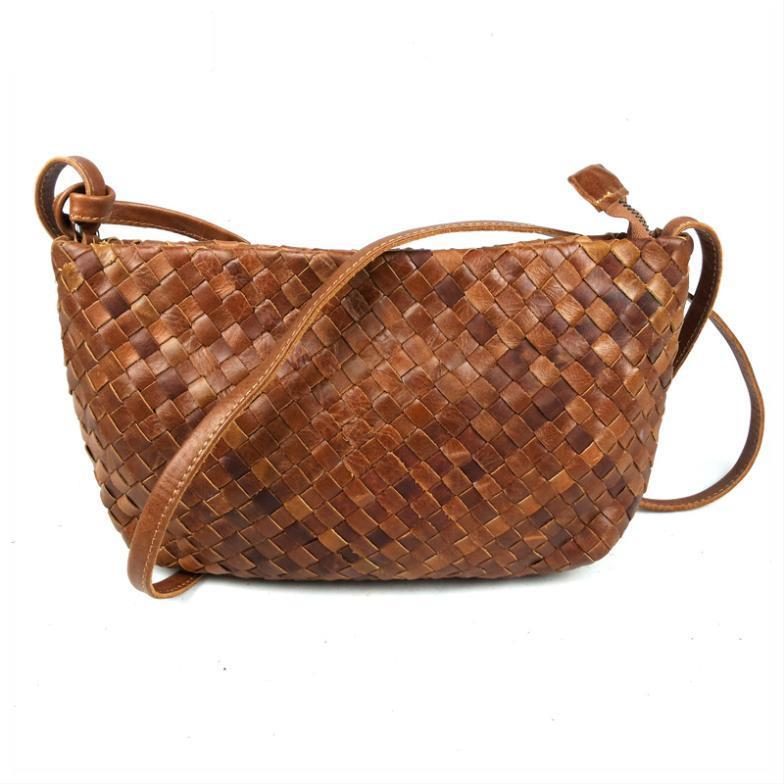 2015 New Vintage Women Bag Fashion Woven Casual Genuine Leather Cowhide Shoulder Messenger For Women's Bags