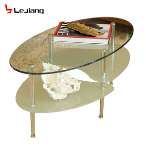 Free sample round mirrored modern fancy bent glass top coffee table