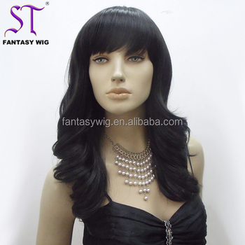 fashion asian women black natural curly hair wig cheap with side swept bang b3b39d6c97