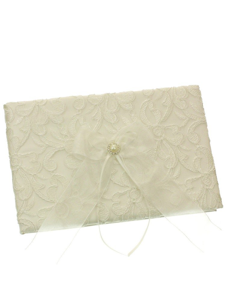 Embroidery Chiffon Ribbon Crystal Framed Faux Pearl Wedding Guest Book - Ivory