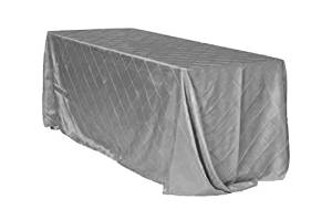 Your Chair Covers - 90 x 156 inch Rectangular Pintuck Taffeta Tablecloths Dark Silver, Rectangle Table Linens for 8 ft Rectangular Tables