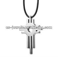 Modern Art Key Cross Pendant Mens Tungsten Necklace Chain