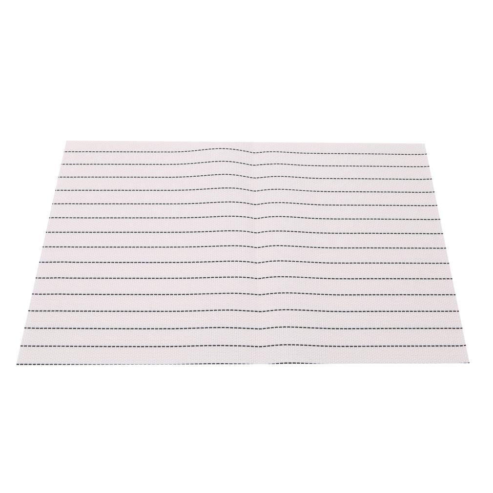 Dolland Striped PVC Insulation Placemat Table Mats- Dining Room Placemats for Table Heat Insulation Stain-resistant Simple Style,White,One Size