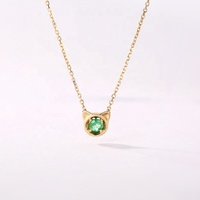 Luxury Natural Gem Jewelry Real 14K 18K Solid Rose Gold Emerald Pendant Necklace for Women