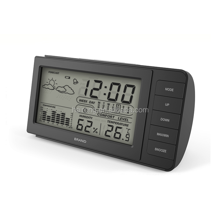 Hairong Digital Clock, LCD screen alarm touch clock with weather station clock