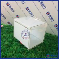 Yageli high acrylic cube ballot box money raising box with sign holder, upscale mini plastic acrylic charity donation box
