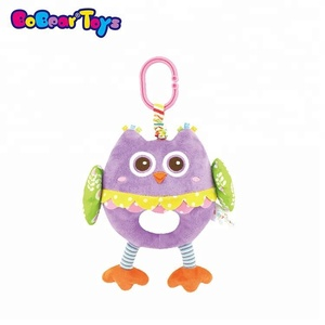 BobearToys custom soft baby mobile hanging animal stuffed plush owl mirror hand grasp baby rattles teether toy