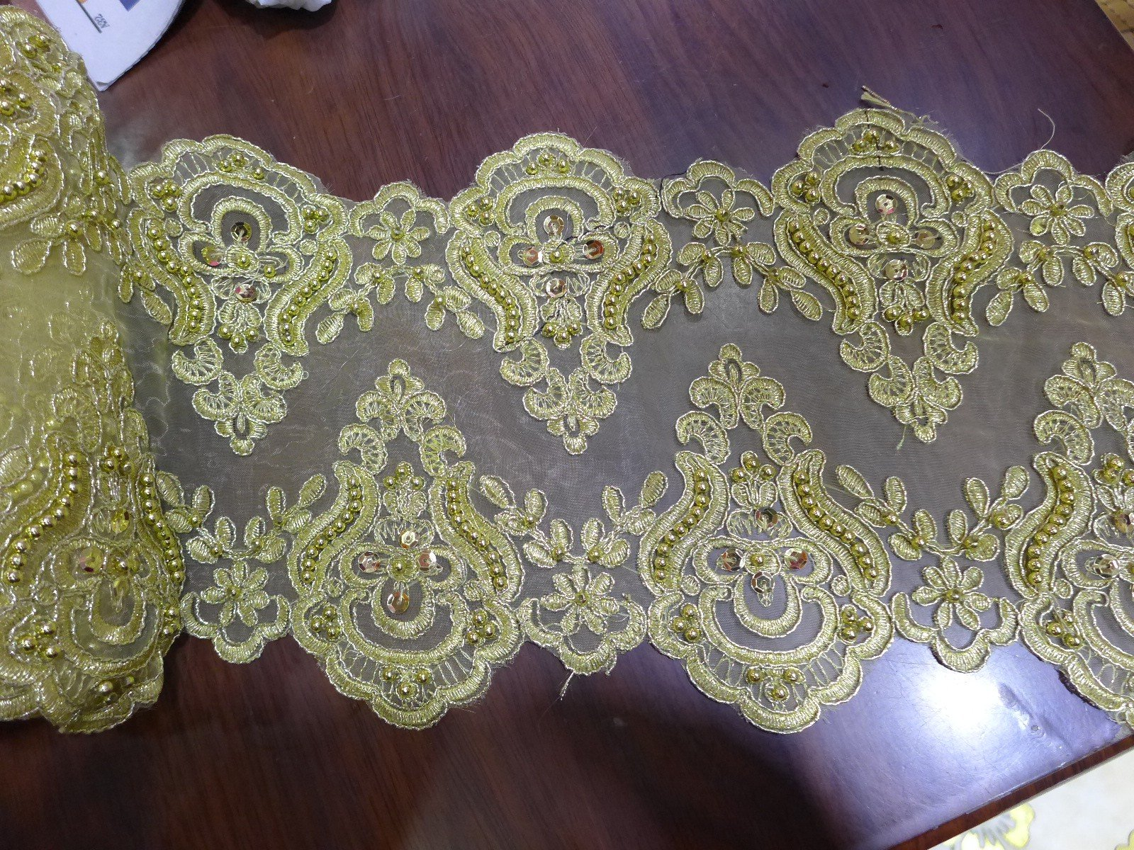 Bridal Wedding Dress Belts Leaf Metallic Embroidered Venise Lace Trim #294