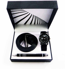 new arraival Chinese factory directly wholesale men watch gift set with pen and belt