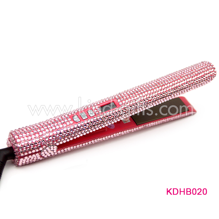 Goods in stock magic crystal rhinestone hair straightener electric steam wholesale ceramic custom private label hair flat iron