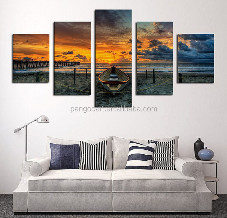 No Frame 5 Panel Seascape And Boat With HD Large Print Canvas Painting For Living Room Home Decoration Unique Gift Wall <strong>Picture</strong>