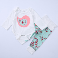 Newest Baby Girl Clothes Set Floral 2PCS Autumn Warm Clothes Long Sleeve Toddler Flower romper pants Clothing Set