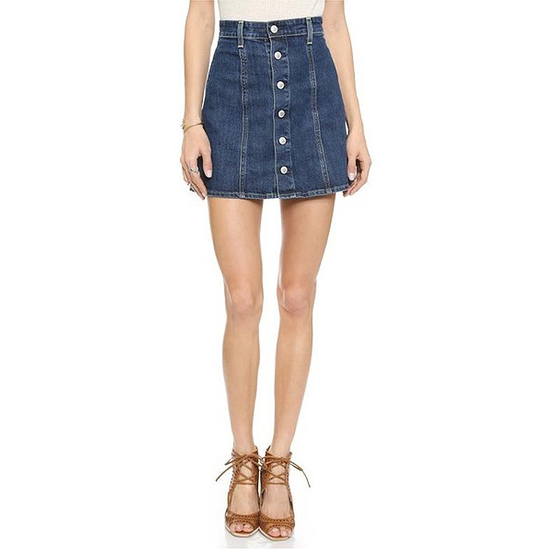 74d5629ca9 High Waisted Denim Skirt With Buttons - Dress Ala