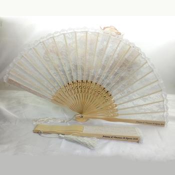 Folk Style Wedding Favor Custom Printed Logo Folding Bamboo Lace Hand Fan White