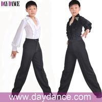 Boys Kids Shiny Spandex Dance Costumes Traditional Lantern Sleeve Modern Ballroom Latin Performance Stage Dance Wear