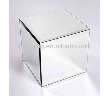High Quality Bevelled Box Shape Mirror Display Cube Mirrored End Table Home Decor