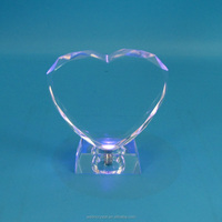high quality led lighting optical glass heart style block gifts crystal crafts