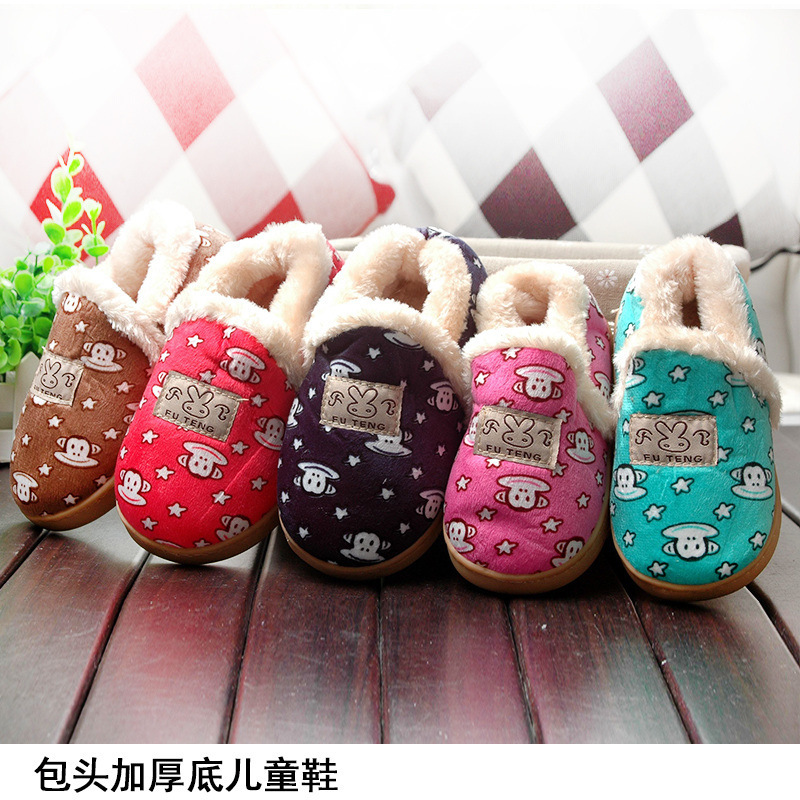 Hot sales Indoor and Outdoor 7 colors options cartoon Children boys girls Winter Slippers Plush Free