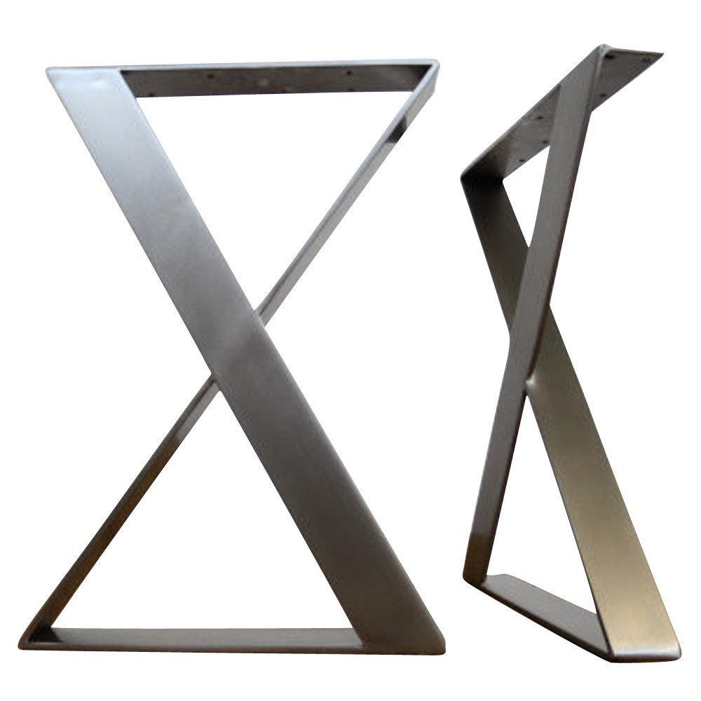 China Metal Foundry Modern Good Quality furniture stainless steel polishing finished X shape wood table leg