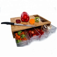 Wooden Bamboo Sliding Tray Kitchen Cutting Board With Scale And 4 Plastic Drawers