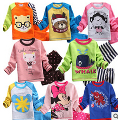 2015 long sleeves kids autumn winter thick velvet pyjamas