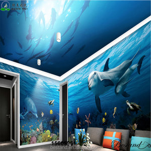 Whole room design Dustproof 3D ocean wall mural like painting on wall