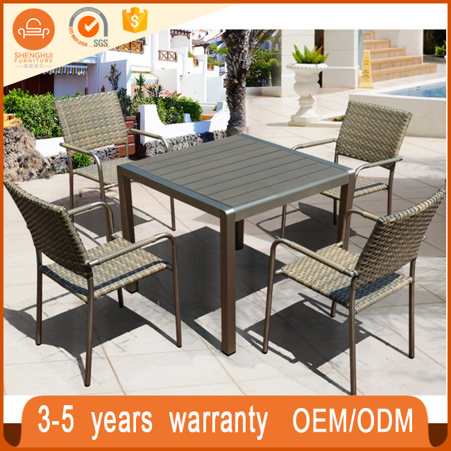 Garden rattan ootdoor furniture rattan/wicker +black blastic wood dining table chairs wholesale furniture china