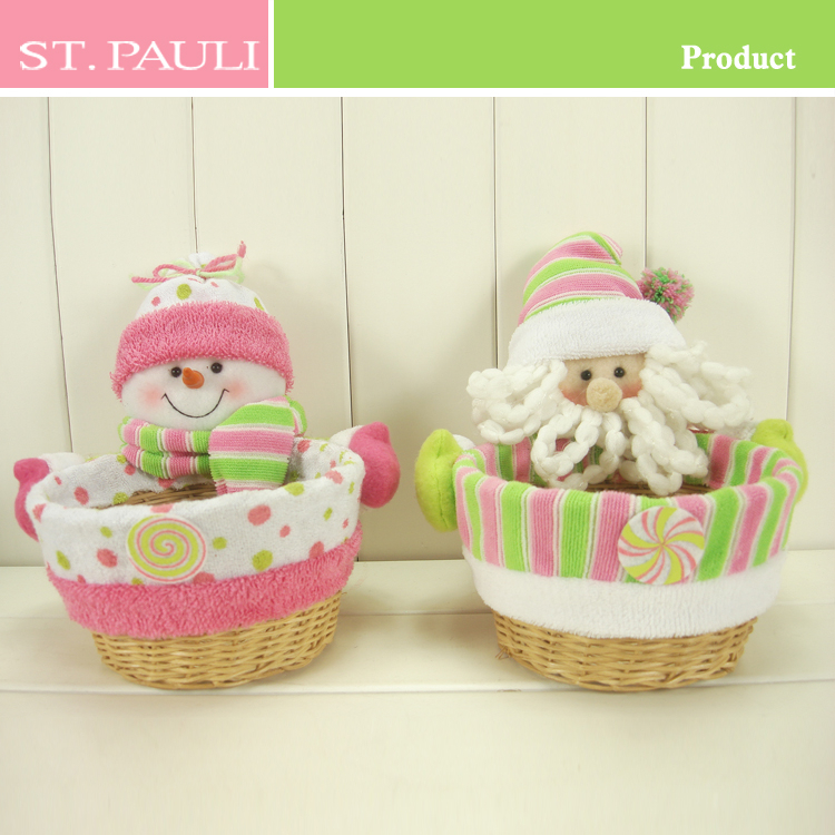 Unique holiday cheerful pink color christas candy basket dropshipping