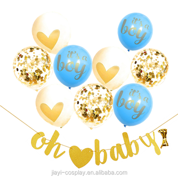 Baby Shower Decorations Gender Reveal Party Favors Boy or Girl Party Decor Banner Confetti Glitter Balloons Kits
