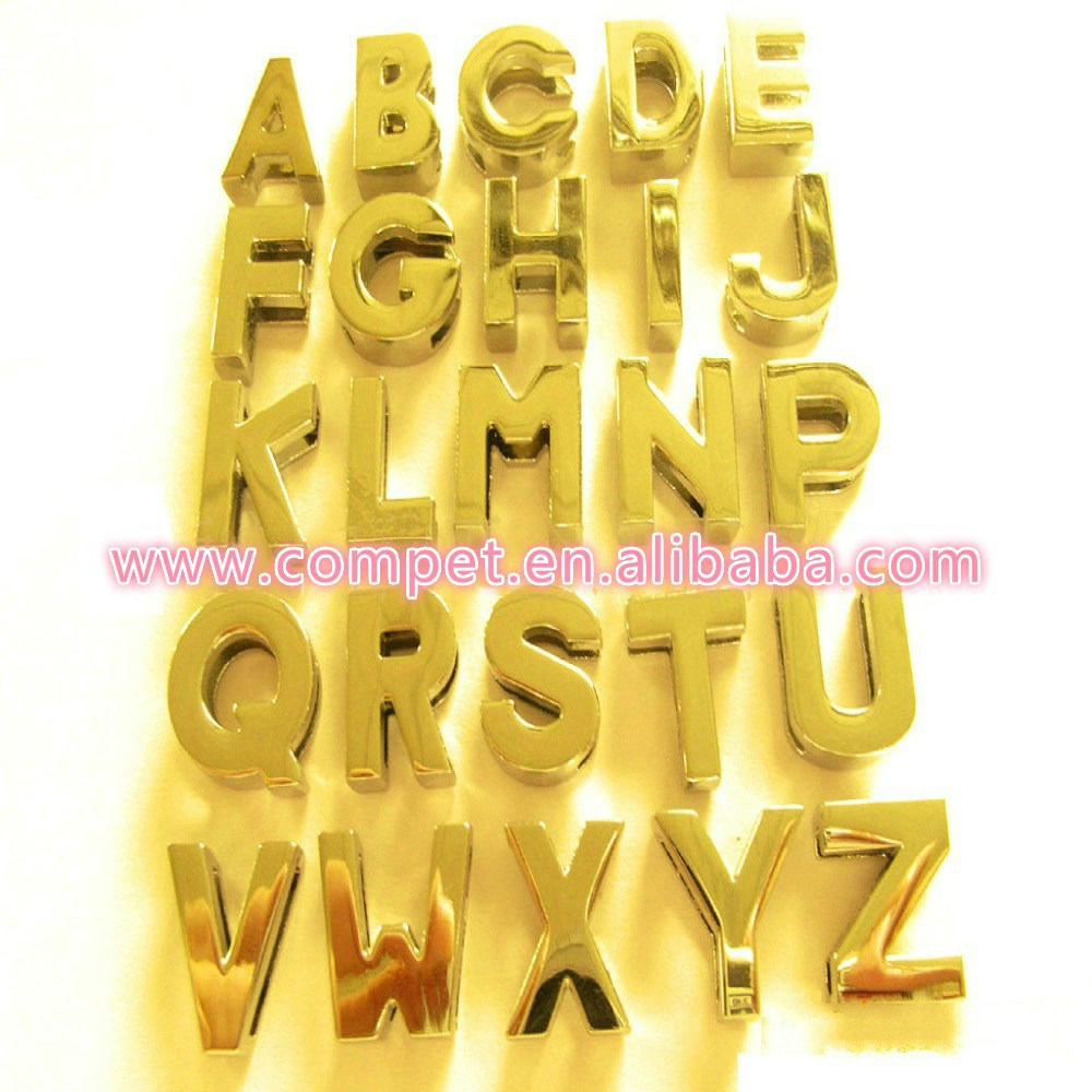 Wholesale 10mm Chrome Plated or Gold Plain Zinc Alloy Slider Letters  without Rhinestones 992f3bc9c656