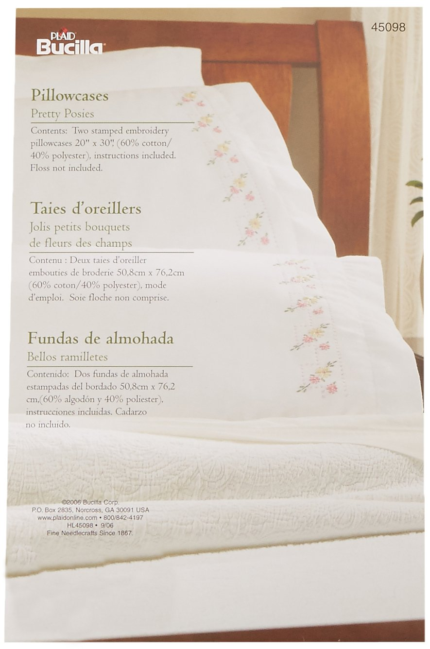 Bucilla Stamped Embroidery Pillow Case Pair Kit, 20 by 30-Inch, 45098 Pretty Posies