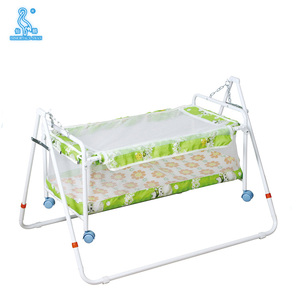Polyester Fabric Green Color Adult Baby Crib With Mosquito Net