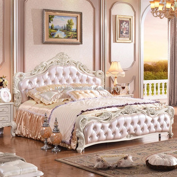 French pink italian leather bed