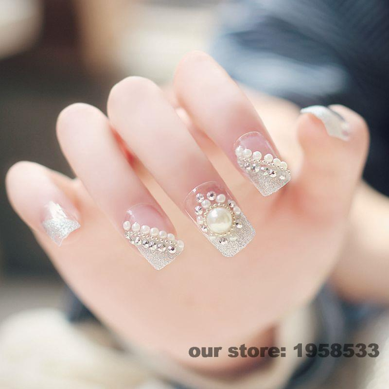 24pcs Clear Silver Glitter Dust Gems Rhinestones Pre Design Acrylic 3D Wedding Style False Nail Tips Large Pearl Z039