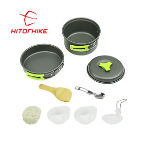 Light weight outdoor portable aluminum camping cookware mess kit 9cs camping cookware