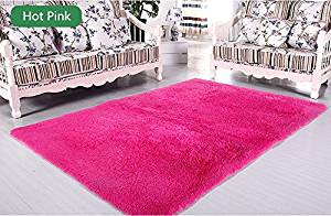 LELVA Ultra Soft 4.5 Cm Thick Indoor Morden Area Rugs Pads Fashion Color [Bedroom] [Livingroom] [Sitting-room] [Rugs] [Blanket] [Footcloth] for Home Decorate (Hot Pink, 5ft X 6.5ft)