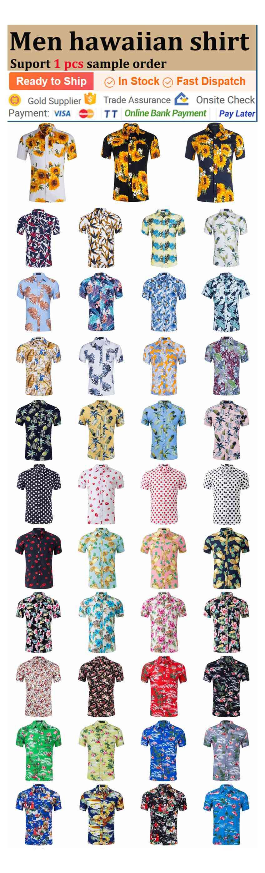 100% degli uomini Poliestere Manica Corta Stampa Floreale Spiaggia Hawaiana Camicia Floreale hawaiian aloha shirt sublimazione personalizzato cane